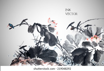 Abstract lotus. Vector illustration. Traditional Chinese Painting.