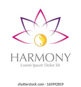 Abstract Lotus Yin Yang Harmony Symbol Vector Logo Design Element