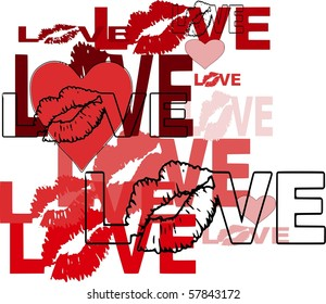 Abstract Love Design With Lips and Hearts