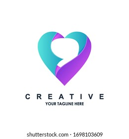 abstract love logo gradient design template