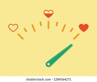 Abstract love meter illustration with red hears and arrow. Idea - Love-o-meter, feeling test, valentines's day card background, relationships etc.