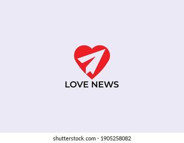 Abstract love news logo design template