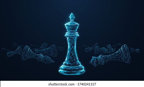 Abstract low poly 3d king chess piece in front of defeated chess figures. Digital vector mesh consisting of blue lines, dots and triangles isolated in black background. Leader success business concept