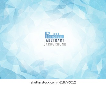 Abstract low poly background in blue color tone with blank space for text copy