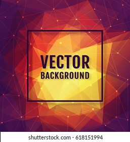 Abstract low poly background with frame and space for text. Colorful vector banner.