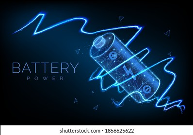 Abstract low poly battery charge from electric discharge or lightning, high voltage, long battery charge and energy, vector illustration
