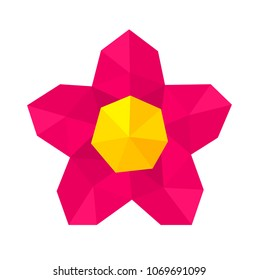 Abstract low poly geometric pink flower. Vector illustration
