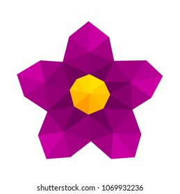 Abstract low poly geometric purple flower. Vector illustration