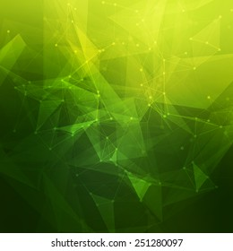 Abstract low poly green bright technology vector background. Connection structure. Vector data science background. Polygonal vector background. Molecule And Communication Background.
