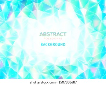 Abstract low poly holographic geometric background in blue and green color tone with blank space for text copy