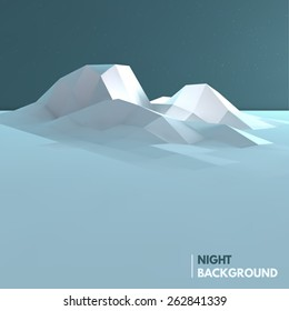 Abstract low poly ice mountain background. Vector illustration EPS10.