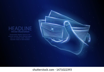 Abstract low poly illustration concept, hand with cash in the wallet, on a deep blue background, symbol of business trade and financial transactions