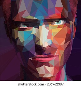 Abstract low poly, pop art portrait man.
