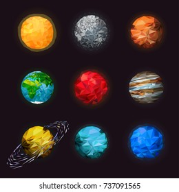 Abstract low poly set of isolated planets. Fantasy polygonal planets set on space background. Science astronomy of the solar planetary. Mars, saturn with rings, earth, Sun.