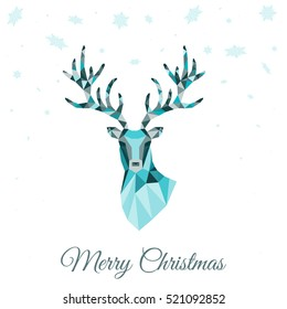 Abstract low poly triangle deer head. Christmas greeting card with blue  reindeer  on white background. Vector illustration in origami style.