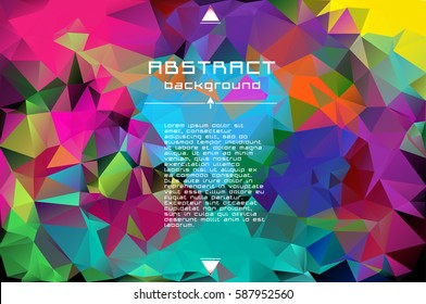 Abstract low poly triangles background. Futuristic pattern. Geometric polygonal design. Multicolor. Warm colors and shades