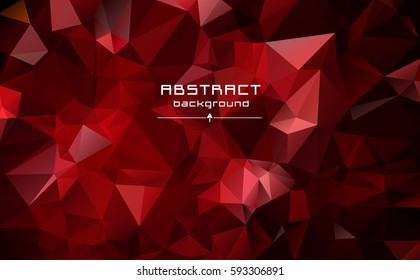 Abstract low poly triangles background. Ruby. Futuristic pattern. Geometric polygonal design. Stretching from red to black.