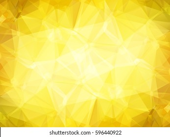 Abstract low polygon shaped background. Triangular design with geometric mosaic for business. Colorful shiny wallpaper with gold gradient triangles and shining sparkles. Vector illustration.