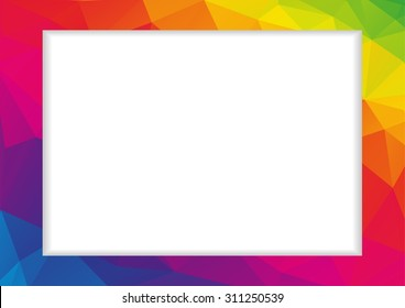 Abstract low polygonal frame in rainbow (spectrum) colors