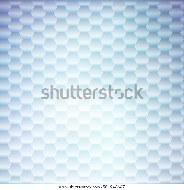 Abstract luminous vector hexagon background. Modern polygonal graphic design with blue and white grid pattern. Geometric shapes in vertical lines template. Banner, poster, card or website backdrop.