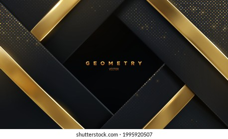 Abstract luxury background. Black layers with shiny glitters and golden ribbons. Vector 3d illustration. Geometric backdrop. Slanted shapes. Decoration frame for banner or poster design.