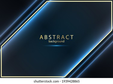 Abstract luxury background. Dark blue background with gold lines.
