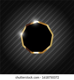 Abstract luxury black background. Gold nonagon frame 9 sides with top pattern. Futuristic geometric shapes design