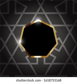 Abstract luxury black background. Gold heptagon frame 7 sides with best pattern. Modern geometric shapes design