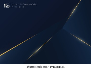 Abstract luxury blue tech template design with gold glitters template. Overlapping style of artwork classic background. illustration vector