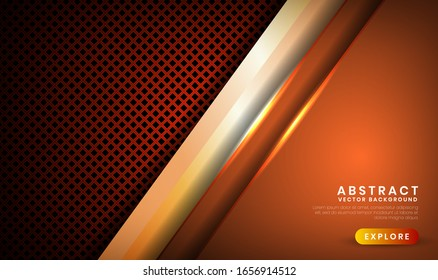 Abstract luxury brown background. Overlap layer on dark space with  orange light effect decoration for cover, banner, brochure, landing page, or flyer elements. Texture with rhomb perforated metallic
