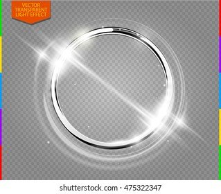 Abstract luxury chrome metal ring. Vector light circles and spark light effect. Sparkling glowing round frame on transparent. Sunny and cheerful background. Glow space for your message