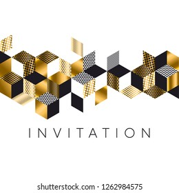 Abstract luxury gold and black rhombus pattern for header, card, invitation, poster. Vector illustration with geometric shapes, hexagons, triangles. Mosaic and patchwork inspired design element.
