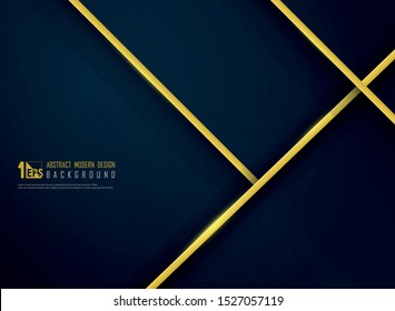 Abstract luxury golden line on gradient classic blue template background. Decorating for VIP template, tech, modern artwork, reward prize. illustration vector eps10