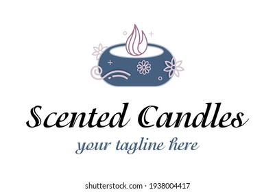 Abstract luxury logo for scented candles. Aromatherapy sign. Spa sign.