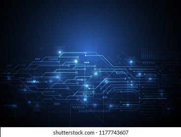 Abstract machine background with technology circuit board texture. Electronic motherboard illustration. Communication and engineering concept. Vector illustration