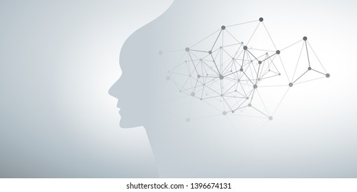 Abstract Machine Learning, Artificial Intelligence, Cloud Computing and Networks Design Concept with Geometric Network Mesh and Human or Robot Head Silhouette