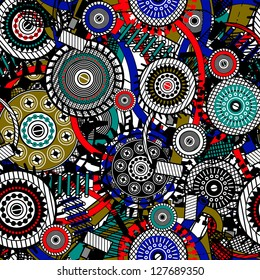 Abstract Machine pattern. Seamless mechanism texture. Vector  illustration with cogwheels and mechanical parts