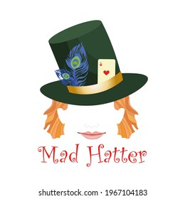 Abstract mad hatter head wearing hat decorated with playing card and feathers. Redheared smiling face.