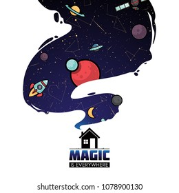 Abstract magic space illustration. Vector collection.