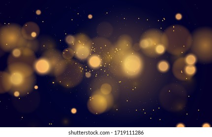 Abstract magical background with bokeh lights effect, blue, silver, gold glitter for Christmas, for your banner, post