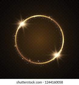 Abstract magical glowing golden banner.Magic circle. Merry Christmas. Round gold shiny frame with light bursts. Gold dust on celebratory banner