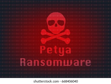 Abstract Malware Ransomware petya virus encrypted files with skull on binary bit background. Vector illustration cybercrime and cyber security concept.