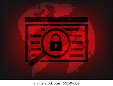 Abstract Malware Ransomware virus encrypted files with key lock on wolrd map background. Vector illustration cybercrime and cyber security concept.