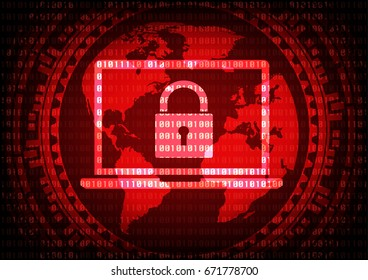 Abstract Malware Ransomware virus encrypted files on laptop computer with key on binary bit background. Vector illustration cybercrime and cyber security concept.