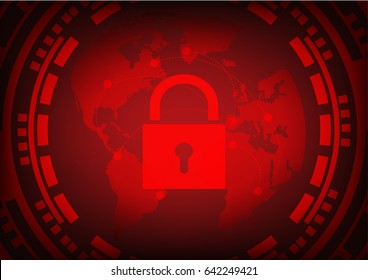 Abstract Malware Ransomware wannacry virus encrypted files with key lock and gear on wolrd map background. Vector illustration cybercrime and cyber security concept.