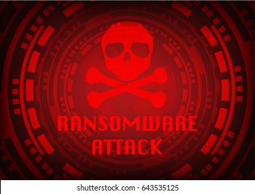 Abstract Malware Ransomware wannacry virus encrypted files with skull on wolrd map background. Vector illustration cybercrime and cyber security concept.