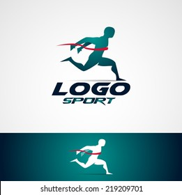 abstract man design concept onlain Academy, sports club, running club and fitness vector logo design template