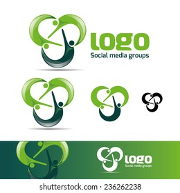 abstract man design concept online Academy and fitness vector logo design template , business card design template