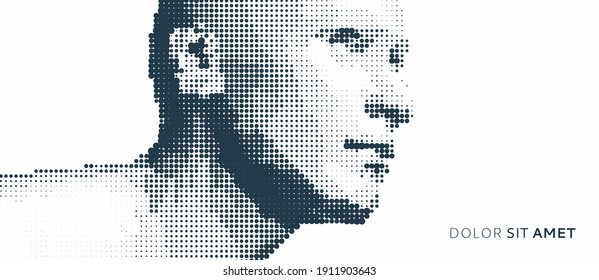 Abstract man head made from dots. Side view of dotted face background. Facial recognition. 3D vector illustration.