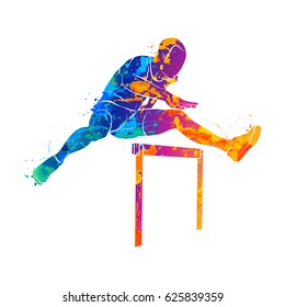 Abstract man jumping over hurdles from splash of watercolors. Vector illustration of paints.